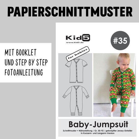 Kid5 Schnittmuster und Nähanleitung gedruckt: Baby-Jumpsuit im Makerist Materialshop - Bild 1