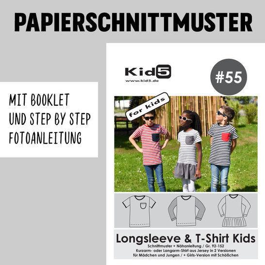 Kid5 Schnittmuster und Nähanleitung gedruckt: Longsleeve und T-Shirt Kids im Makerist Materialshop - Bild 1