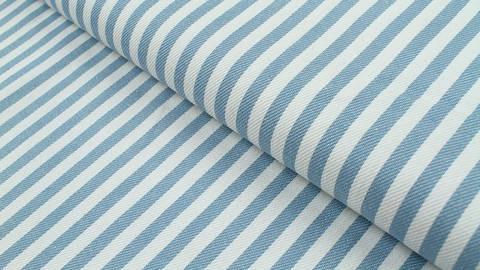 Baumwoll-Jeansstoff hellblau-weiß: Streifen - 150 cm im Makerist Materialshop