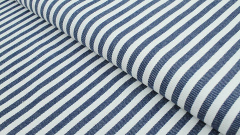 Baumwoll-Jeansstoff blau-weiß: Streifen - 150 cm im Makerist Materialshop
