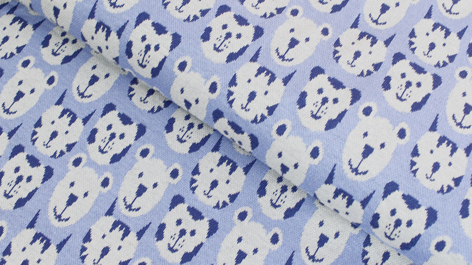 Jacquardstoff blau: Avalana Bären und Tiger - 160 cm im Makerist Materialshop - Bild 1