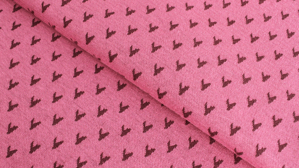 Jacquardstoff rosa: Avalana Herzen - 160 cm im Makerist Materialshop - Bild 1