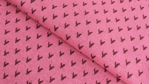 Jacquardstoff rosa: Avalana Herzen - 160 cm im Makerist Materialshop