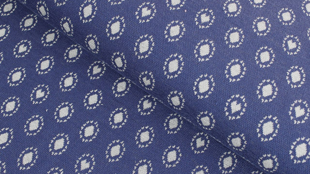 Jacquardstoff dunkelblau: Avalana Herzen und Kreise - 160 cm im Makerist Materialshop - Bild 1