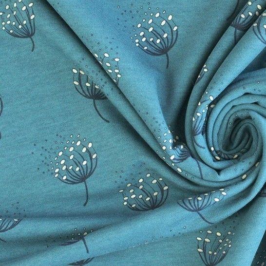Tissu en sweat bleu Avalana imprimé pissenlits  -160 cm dans la mercerie Makerist - Image 1