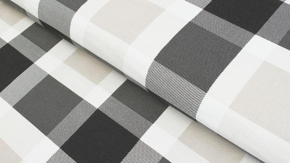 Sweatstoff schwarz-weiß-beige: Avalana Karos - 160 cm im Makerist Materialshop - Bild 1
