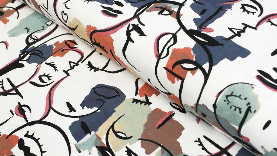 Baumwolljersey weiß-blau bedruckt: Avalana Frauensilhouette - 162 cm im Makerist Materialshop - Bild 1