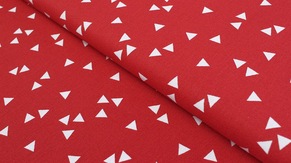 Baumwollstoff Dreieck rot: Triangle - 150 cm im Makerist Materialshop - Bild 1
