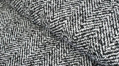 Mantelstoff schwarz-weiß: Fischgrätmuster - 145 cm im Makerist Materialshop