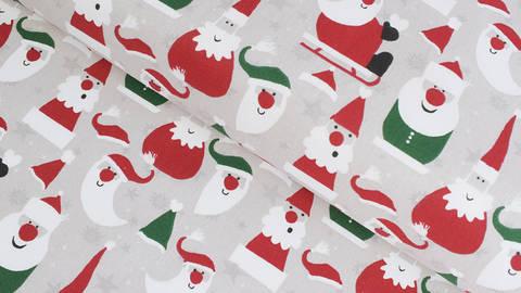 Baumwollstoff grau-beige: Weihnachtsmann - 140 cm - ARCHIVIERT - im Makerist Materialshop