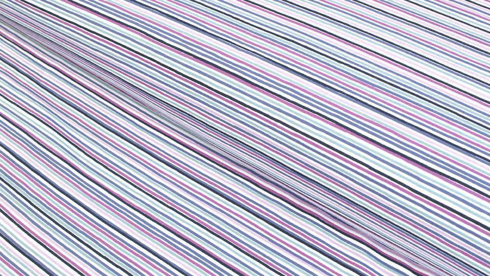 Baumwolljersey weiß-lila bedruckt: Avalana Streifen - 162 cm im Makerist Materialshop - Bild 1
