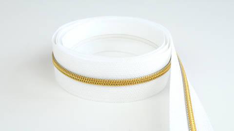 Endlosreißverschluss: gold-weiß - 4 mm  im Makerist Materialshop