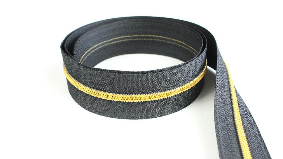 Endlosreißverschluss: gold-schwarz - 4 mm  im Makerist Materialshop - Bild 1