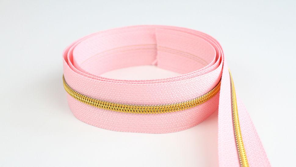Endlosreißverschluss: gold-rosa - 4 mm  im Makerist Materialshop - Bild 1