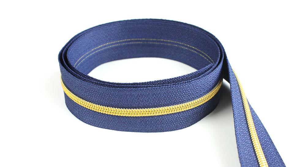 Fermeture à glissière sans fin : bleu marine doré - 4 mm dans la mercerie Makerist - Image 1