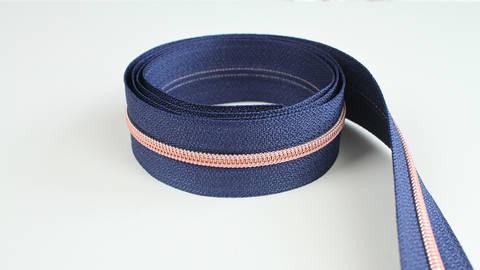 Endlosreißverschluss: kupfer-marineblau - 4 mm  im Makerist Materialshop
