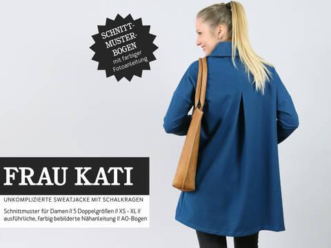 Studio Schnittreif - Schnittmuster und Nähanleitung gedruckt: Frau Kati Sweatjacke mit Schalkragen  im Makerist Materialshop