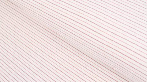 Baumwolljersey ecru-rosa: Lurex-Streifen - 150 cm im Makerist Materialshop