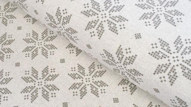 Baumwoll-Mischgewebestoff natur Leinenoptik: Glitzer Schneekristalle - 155 cm im Makerist Materialshop - Bild 1
