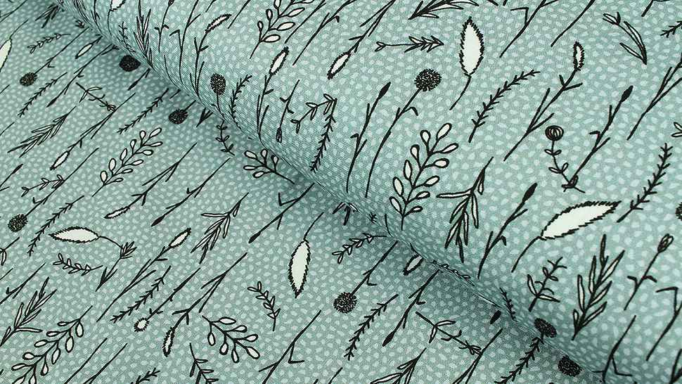 Baumwollstoff blau: Gräser - 112 cm im Makerist Materialshop - Bild 1