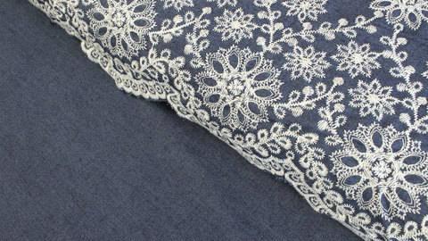 Tissu denim bleu foncé - fleurs brodées dans la mercerie Makerist