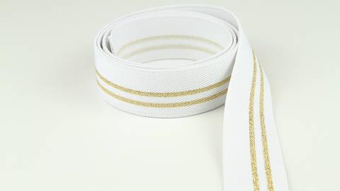 Elastisches Band weiß-gold: Glitzerstreifen - 3 cm im Makerist Materialshop