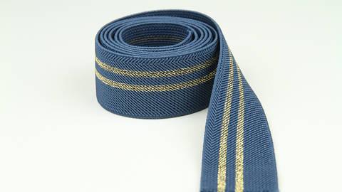 Elastisches Band jeansblau-gold: Glitzerstreifen - 3 cm im Makerist Materialshop