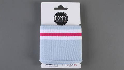 Bündchen hellblau-pink-weiß: elastische Cuffs  im Makerist Materialshop