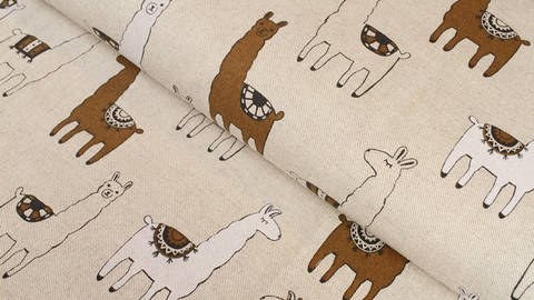 Tissu en coton mélangé aspect lin : petits lamas - 140 cm dans la mercerie Makerist