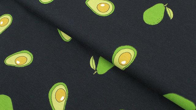 Baumwolljersey dunkelblau: Avocados - 145 cm im Makerist Materialshop - Bild 1
