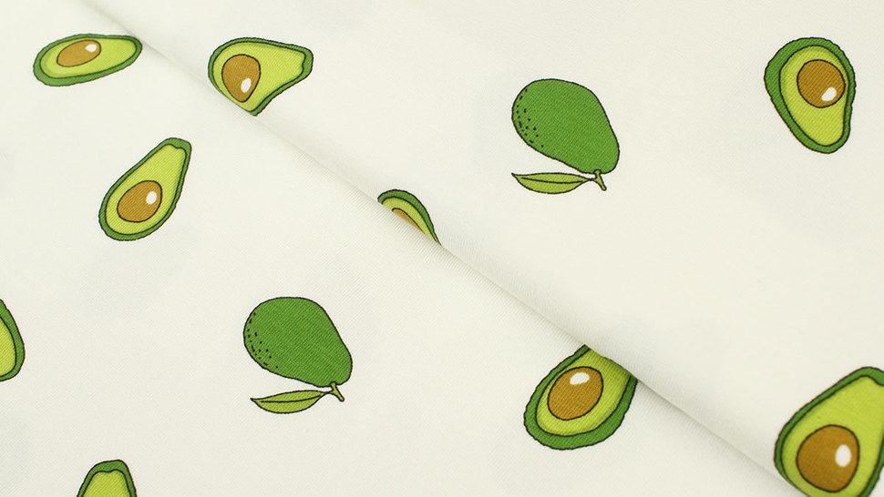 Baumwolljersey weiß: Avocados - 145 cm im Makerist Materialshop - Bild 1