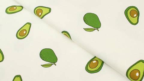 Baumwolljersey weiß: Avocados - 145 cm im Makerist Materialshop