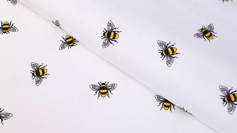 Baumwolljersey weiß: Bienen - 145 cm im Makerist Materialshop