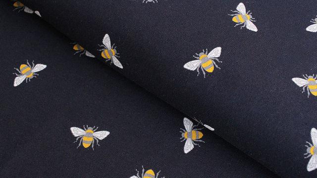 Baumwolljersey navy: Bienen - 145 cm im Makerist Materialshop - Bild 1