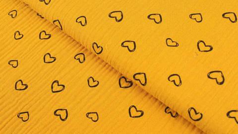Musselin Baumwollstoff ocker: Herzen - 135 cm im Makerist Materialshop