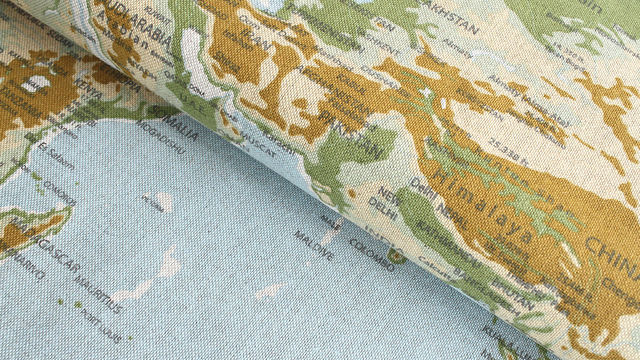 Tissu en coton mélangé bleu-vert clair: carte du monde - 140 cm dans la mercerie Makerist - Image 1