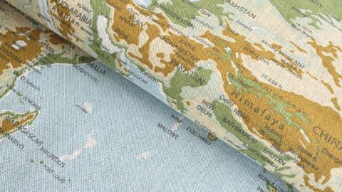 Tissu en coton mélangé bleu-vert clair: carte du monde - 140 cm dans la mercerie Makerist