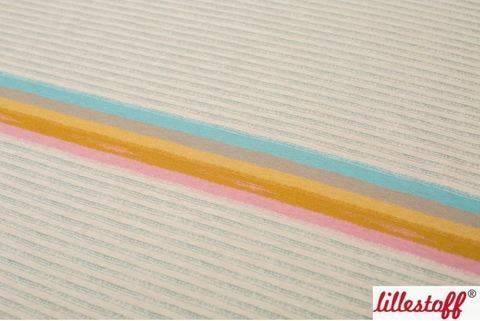 Lillestoff Rapport Bio-Jersey meliert beige: Miniregenbogenstreifen - 160 cm im Makerist Materialshop
