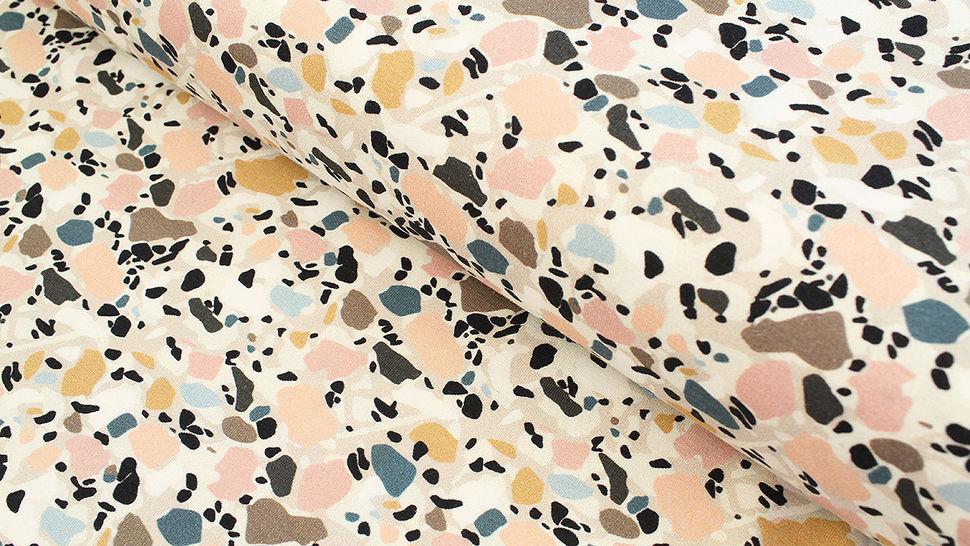 Jersey de coton gris clair: Avalana Terrazzo Pattern - 162 cm dans la mercerie Makerist - Image 1