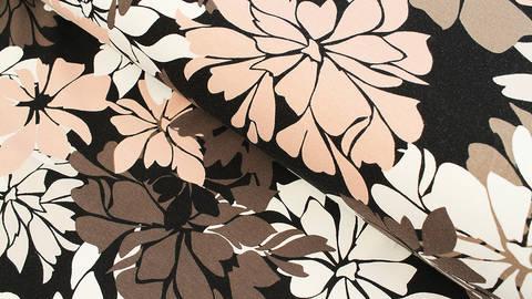 Baumwolljersey schwarz: Avalana Blumen - 162 cm im Makerist Materialshop