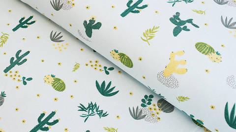 Baumwolljersey mint: Kaktuswüste - 145 cm im Makerist Materialshop