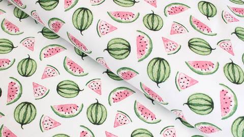 Baumwollstoff Popeline weiß: Wassermelonen - 142 cm im Makerist Materialshop
