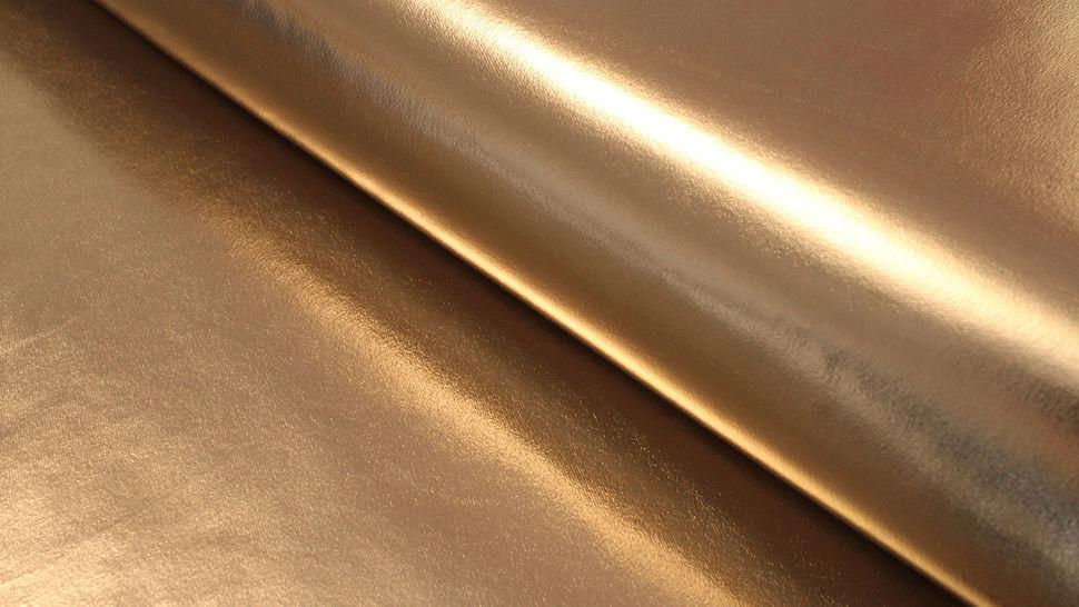 Metallic beschichteter Jersey: gold glänzend - 146 cm im Makerist Materialshop - Bild 1