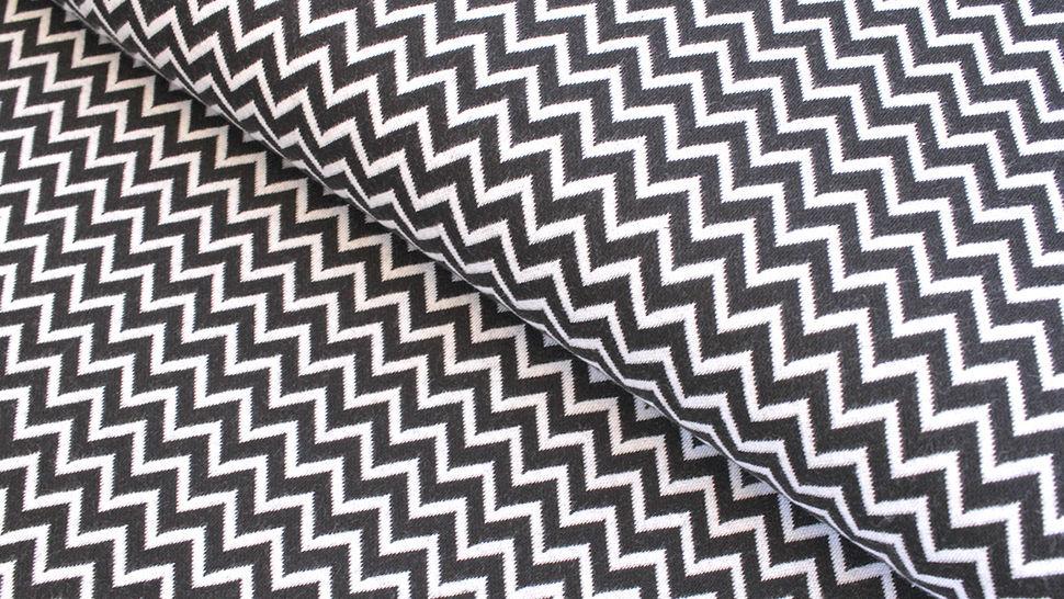 Bündchenstoff Chevron schwarz-weiß: Karla - 100 cm  im Makerist Materialshop - Bild 1