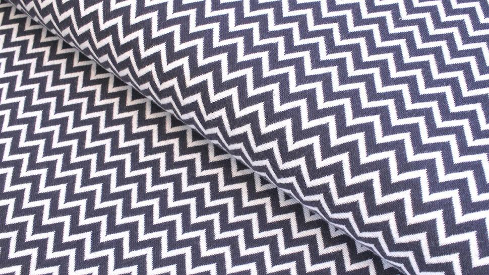Bündchenstoff Chevron dunkelblau-weiß: Karla - 100 cm  im Makerist Materialshop - Bild 1