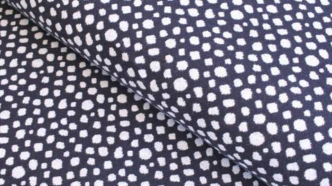 Bündchenstoff Punkte dunkelblau-weiß: Karla - 100 cm  im Makerist Materialshop
