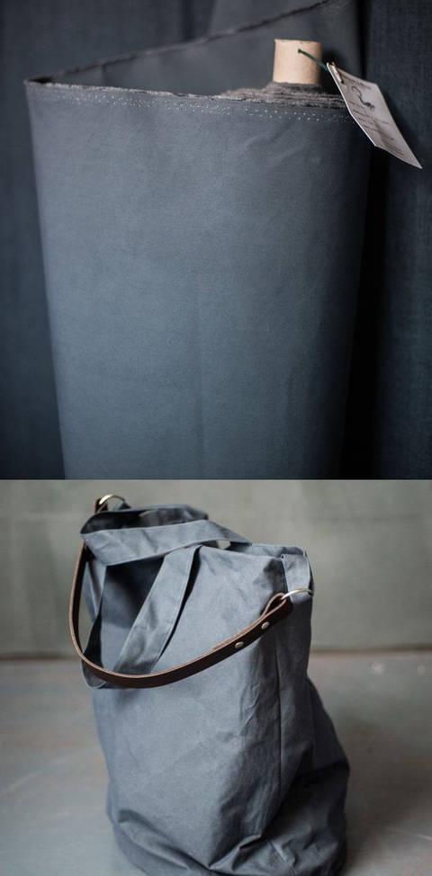 Gewachste Baumwolle matt blaugrau: Dry Oilskin - 150 cm im Makerist Materialshop