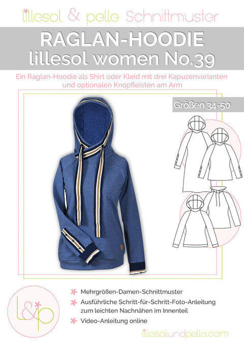 Lillesol Papierschnittmuster No.39 - Damen Raglan-Hoodie im Makerist Materialshop
