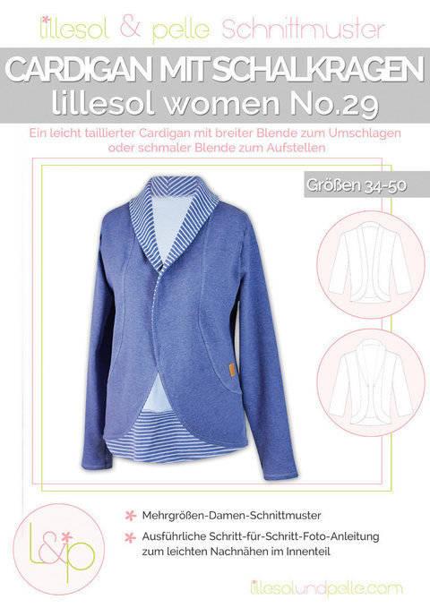 Lillesol Papierschnittmuster No.29 - Damen Cardigan mit Schalkragen im Makerist Materialshop