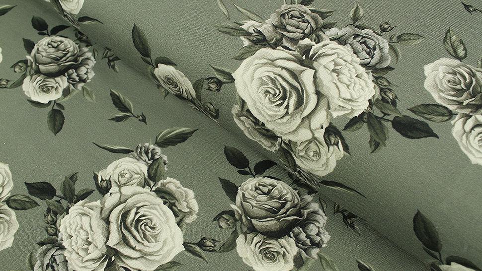 Baumwolljersey grau: Megan Blue Tricot Roses - 150 cm im Makerist Materialshop - Bild 1